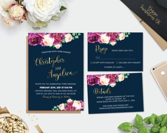 Navy wedding invites Etsy