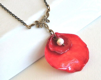 Real Double Rose Petal Necklace - Red, Real Flower Jewelry