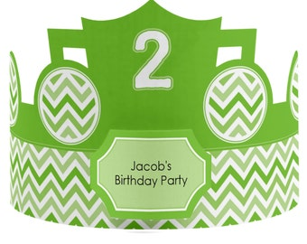 8 Custom Party Hat - Chevron Green Birthday Party Supplies - Set of 8