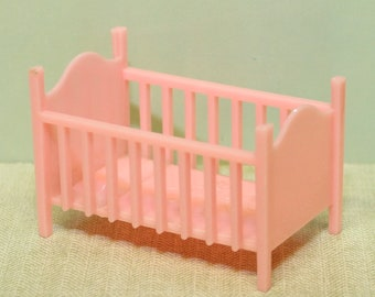 Vintage Marx Mickey Mouse Crib dollhouse furniture, 1/2 or 1:24 inch scale, Perfect condition, hard plastic