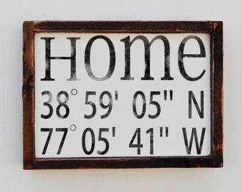 House Warming Gift, Latitude Longitude Sign, Custom Wood Sign,  Bridal Shower Gift, Wedding Gift, Anniversary gift, Home Decor Sign