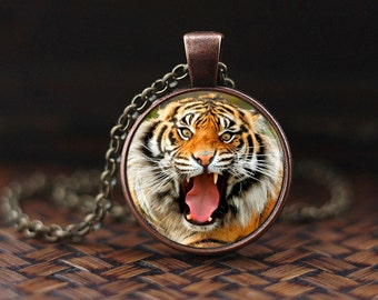 Tiger Necklace, Tiger Pendant, tiger jewelry, Pendant Art gift for men for women, nature necklace, m105