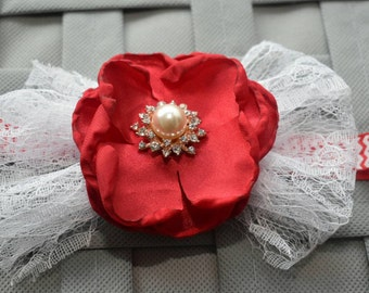 White lace and red flower elastic headband - Baby / Toddler / Girls / Kids Headband / Hairband / Hair bow / Hairclip /Barrette