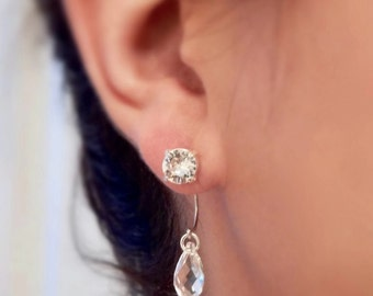 Clear crystal ear jacket earrings - clear earrings - diamond clear - Swarovski crystal - crystal earring - crystal ear jackets - two for one