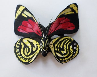 Butterfly Mask, White Spotted Agrias Aydom from Peru, paper mache mask, wearable, hand sculpted