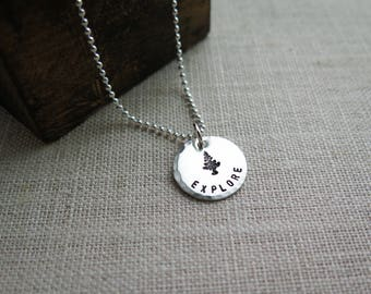 Explore Necklace with Evergreen Tree - Hand Stamped Jewelry