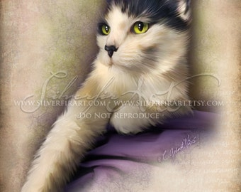 Tipsy...Short Hair Cat - House Cat Study... Print - Your Choice of Size - Domestic House Cat Art Painting