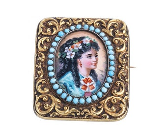 Victorian gold Brooch enamel turquoise