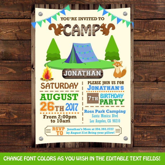 Camping Theme Invitations: Camping Tent Birthday Invitations Camping Party Invitations