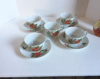 Sale 50% Off Vintage Collectible Porcelain Christmas Teacups and Saucers 1950's