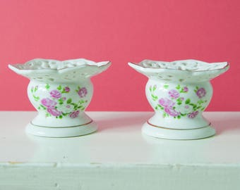 2 beautiful porcelain candle holder