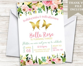 Butterfly Birthday Invitation Invite 5x7 Digital Watercolor Floral Flowers Garden Party Gold Pink