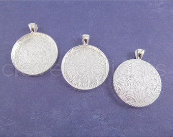 """10 Pk - 30mm (1 3/16"""") Round Trays - Shiny Silver Color - Vintage Style Pendant Trays - Cameo Pendant Blanks - 30 mm 1 3/16 Inch Tray"""