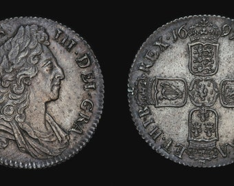 Old English Coin Antique Genuine William III Solid Silver Shilling 1697, British
