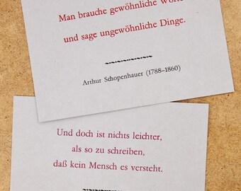 Postkarten mit Zitaten von Arthur Schopenhauer – Buchdruck, Bleisatz auf Graupappe