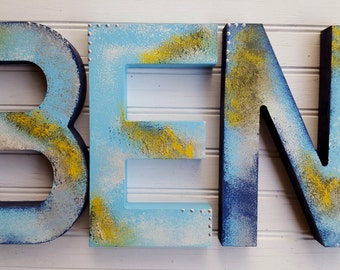 Painted Wall Letters - Nursery Letters - Kids Name Letters - Vintage Kids Room - Rustic Kids Room - Boy Name Letters - Girl Name Letters