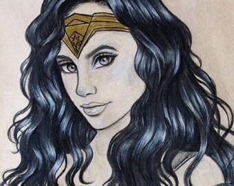 Diana, Wonder Woman, Original 9x12 Drawing