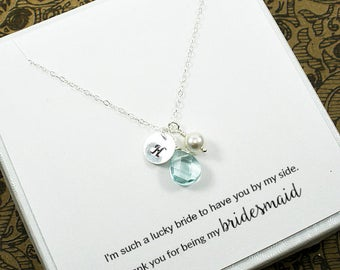 Personalized, Bridesmaid Necklace, set of 3, Personalized Bridesmaid Jewelry, Personalized Wedding Gift, Gifts for Bridesmaids, Made in USA