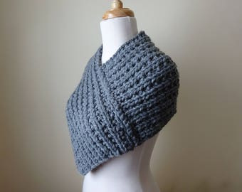 Knit Cowl, Knit Neck Warmer, Textured Rib Stitch Cowl Neck Warmer in Oxford Grey - Acrylic - Soft Cowl - Warm Cowl - Gift for Her