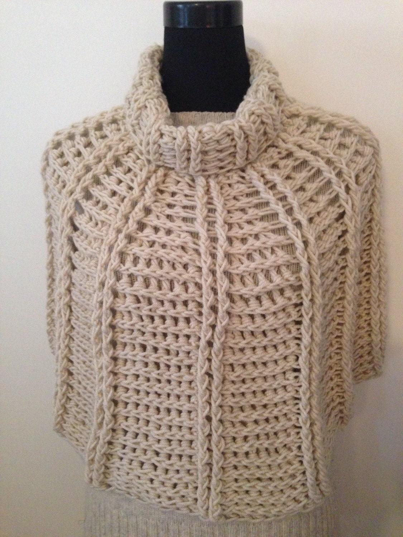 Crochet Poncho PDF Libby Reversible Capelet Cowl Neck Beginner\'s ...