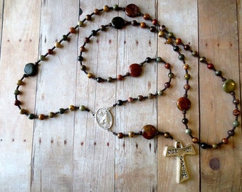 Franciscan Crown Rosary in Red Creek Jasper - Earth tone Franciscan Rosary with Tau Cross and Saint Francis/ Saint Anthony Center