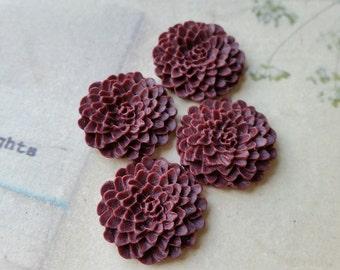 22 mm Umber Red Resin Chrysanthemum Flower Cabochons (.ag)(zzb)