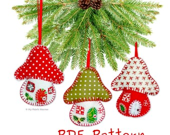 Felt Toadstool House Christmas Decoration PDF Sewing PATTERN & EASY Instructions 10cm Tall