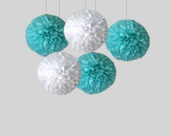 "Tiffant blue poms, Aqua pom, Blue set of tissue paper pom poms, 18"" pom, Tiffany blue poms, Tiffany Wedding Decor, aqua dirthday"