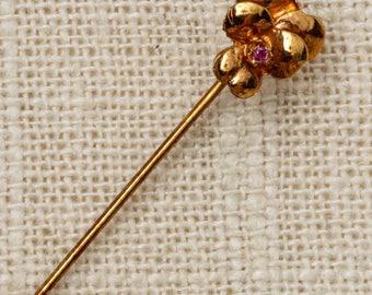 Pink Rhinestone Flower Stick Pin Gold Vintage Stickpin 7R