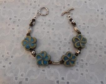 Girls / Smaller Wrists Earthy Beaded Toggle Bracelet w Ceramic Flower Beads