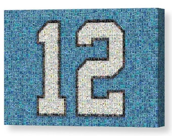 "Unique, Large Seattle Seahawks ""12"" Mosaic Art Print made of over 200 Seahawk Player Cards.  All the Greats Included!"