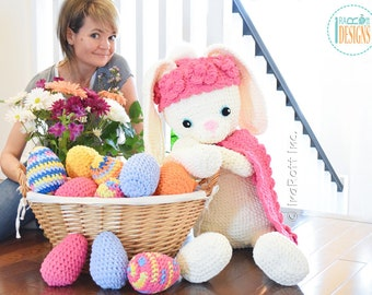 CROCHET PATTERN - Sunny The Big Easter Bunny Crochet PDF Pattern with Instant Download