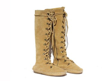 Vintage Mystic Gold Tan Suede Moccasin Tall Boots / size 8.5