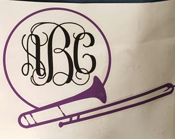 Trombone Car Decal, Marching Band Car Decal