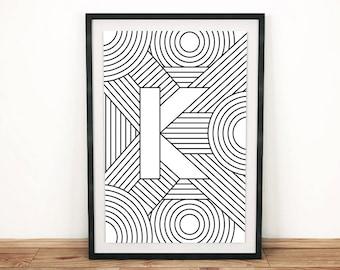 "Digital Download | Letter Print ""K"" | Initial Poster | Letter Print | Alphabet Print | Monogram Initial Print | Wall Art | Quote Art Print"