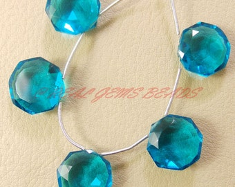 10 Pieces, Paraiba Blue Quartz Faceted Star Cut Briolettes, 14 MM Size, Loose Gemstone Star Beads, AAA Grade High Quality