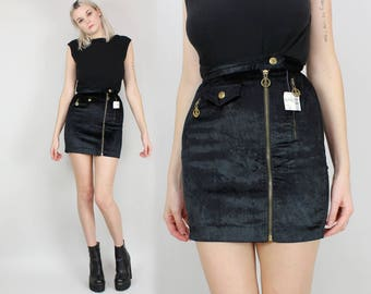 90s MOSCHINO Black Velvet Mini Skirt, Size Extra Small, Xs, 24 25 Waist, Asymmetric, Zip Up, DEADSTOCK, NOS, High Waisted, Peace Signs