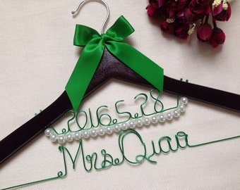 Personalized Deluxe Wedding Hanger with Date,bridesmaid hanger,name hanger,bride hangers,bride hanger for wedding dress,mother hangers,gifts