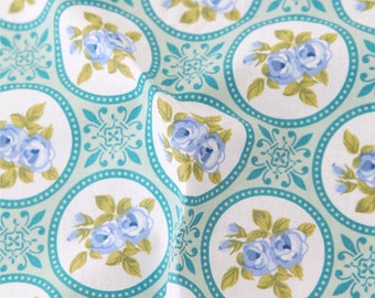 Circle Roses Cotton Fabric - Blue - By the Yard 61822