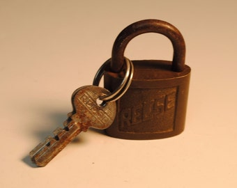 Antique Reese Brass Padlock With 2 Keys