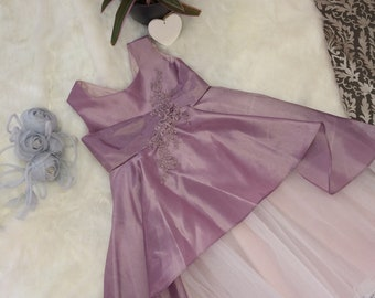 Handmade flower girl dress, Lilac pink taffeta, peplum style over tulle skirt. Age 5-6