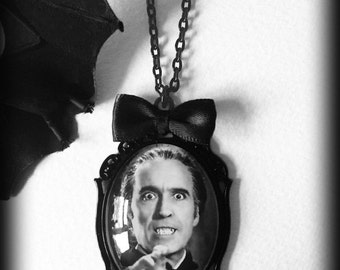 Count Dracula Necklace, Glass Cameo Pendant, Gothic Vampire Jewelry, Chrisopher Lee Pendant, Hammer House of Horror, Alternative Jewelry