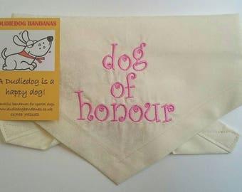 Wedding Dog bandana, Personalised Dog of Honour Neckerchief, Ivory, 100% cotton, embroidery, handmade by Dudiedog. Free UK p & p. 7 sizes!