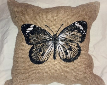 """Butterfly, burlap and muslin printed, 14"""" decorative pillow, rustic, natural, home decor"""