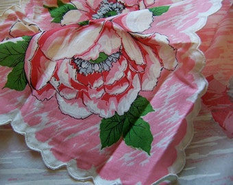 pink flowers scalloped vintage hanky
