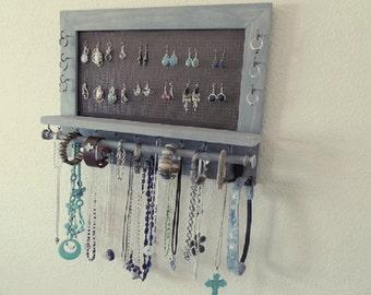 Weathered Grey Jewelry Organizer, Jewelry Storage, Wall Mounted Jewelry Organizer