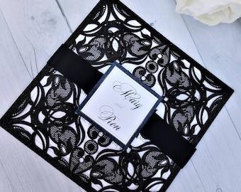 Elegant Black and Gray Lace Wedding Invitation