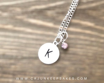 Dainty Circle Necklace | Small Circle | Birthstone | Custom | Personalized Handstamped Jewelry