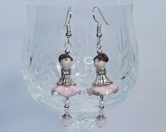 Earrings dangling pink dolls