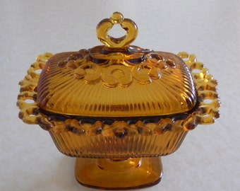 Amber Glass Dish, Indiana Amber Glass, Amber Candy Dish, Amber Pedestal Dish, Pedestal Compote, 1960's Amber Glass, 1960's Glassware